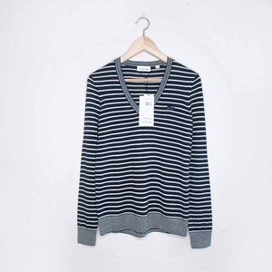 Lacoste striped v-neck wool-blend sweater